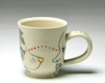 Handmade ceramic LOVE hand thrown mug man woman bird dog rabbit flowers hand painted gold black & white red porcelain by Taylor Robenalt
