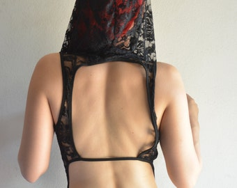 Hooded Black Lace Open Back Top - Diana