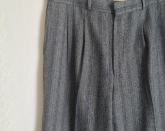 RESERVED 70s Gray Mens Striped Slacks Pants // Vintage Trousers Golf Wool Middle Pleat Pants // Size: 34x30