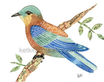 Indian Roller, Original watercolor painting, 5 x 7 inches,  collage watercolor painting