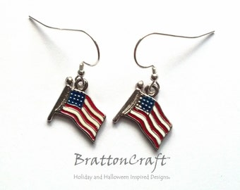 American Flag Earrings - USA Flag Earrings - Patriotic Earrings - Flag Earrings - Red, White and Blue Earrings