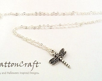 Silver Dragonfly Necklace - Dragonfly Necklace - Dragonfly Jewelry - Bug Jewelry - Insect Jewelry - Summer Necklace