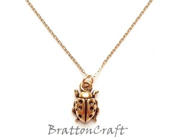 Gold Ladybug Necklace - Ladybug Necklace - Ladybug Jewelry - Insect Necklace - Insect Jewelry