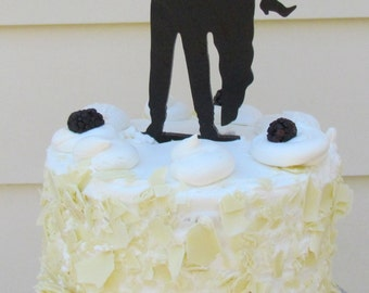 Wooden Silhouette Cake Topper