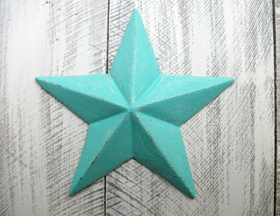 Bright Teal Cast Iron Star Wall Decor Blue Indoor Outdoor Accessory  Nautical Sailor Metal Art Texas