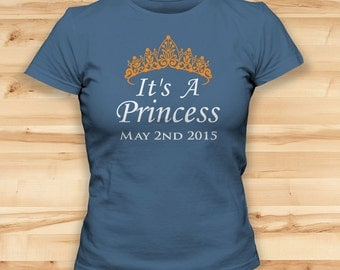 Royal Baby Birth // Will And Kate // 2nd May 2015 // Princess Charlotte // Womens Tshirts // Prince William // Orange Vinyl Crown