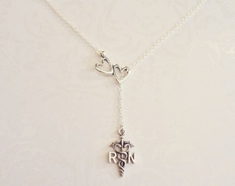RN Registered Nurse Lariat Necklace Caduceus Charm Unique Gift for RN Registered Nurses , Nursing Graduation Gift, RN Graduation, Nurse