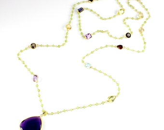 Large Amethyst Quartz Pendant and Peridot Chain Necklace
