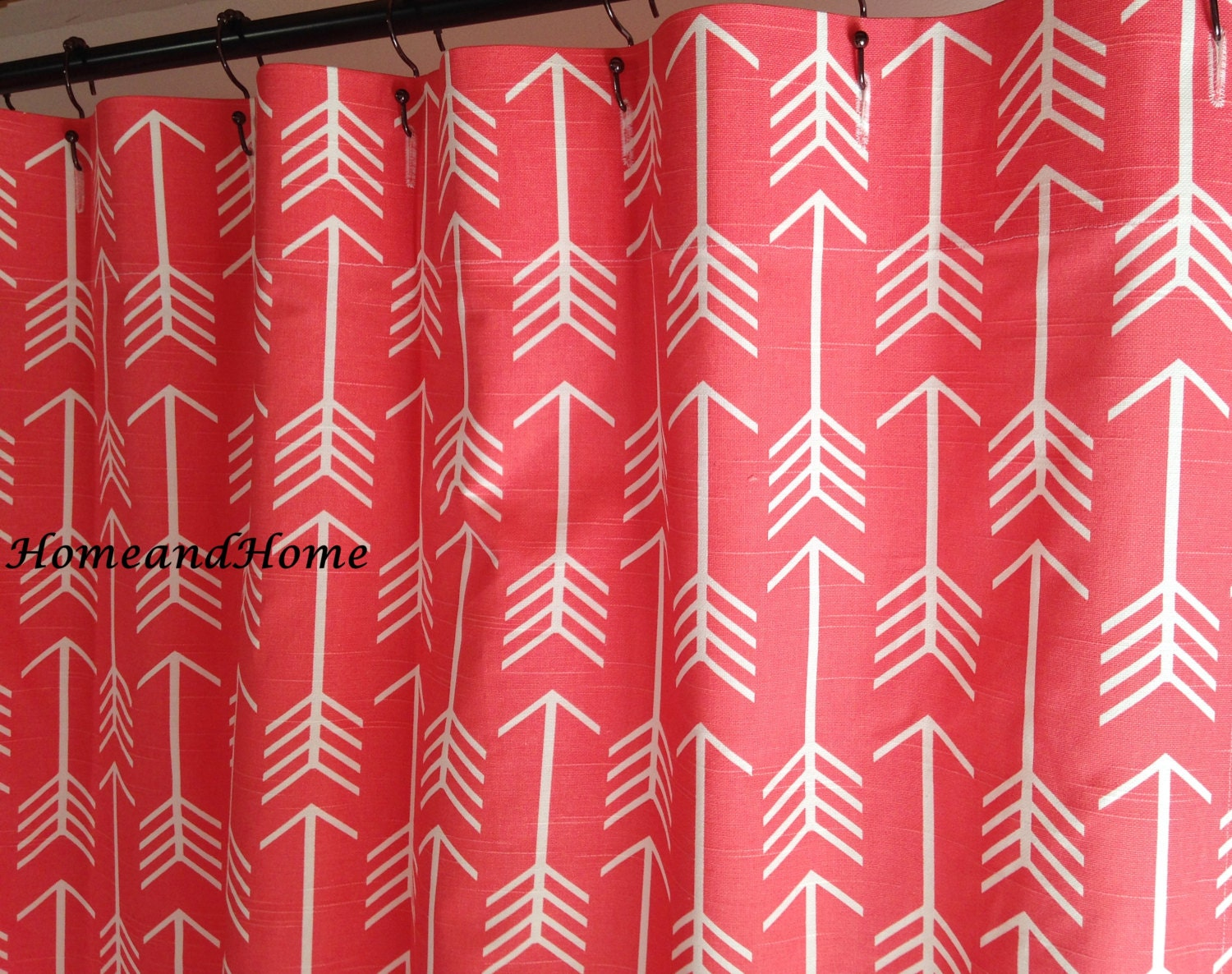 Navy and red shower curtain - Navy And Grey Shower Curtain Custom Fabric Shower Curtain Designer Fabric Arrow Slub Bittersweet Coral