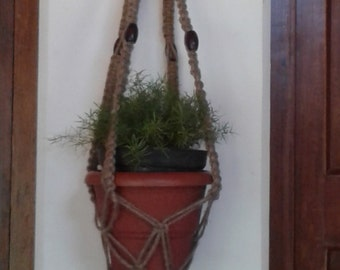 "Free shipping -42"" natural jute macrame hanging planter / plant hanger /holder/ Retro / vintage style / indoor / outdoor / medium sized"