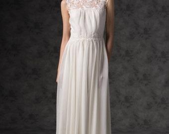 Statice/ Wedding dress, gown, V back neck, Boho chic wedding dress, Lace wedding dress, Vintage-inspired wedding dress, Rustic wedding