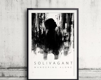 Solivagant, Word Art, Typography Art, Word Meaning, Wandering Alone, Black And White Art, Ink Painting, Walking, Forest Art, Looking Up