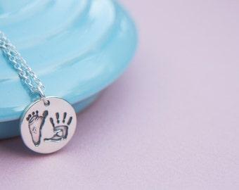 Baby Handprint Necklace, Custom Hand Print, Baby Footprint, Handprint Necklace, Impressions Pawprint Necklace, Baby Handprint Charm
