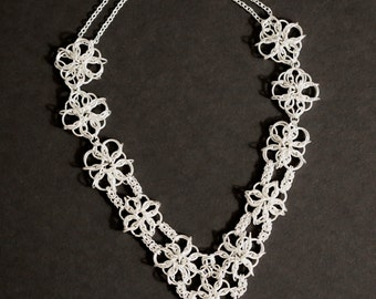 Silver Chainmail Flower Necklace