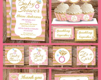 Pink Sparkle Glitter Baby Shower Party Pack printable -baby girl baby shower