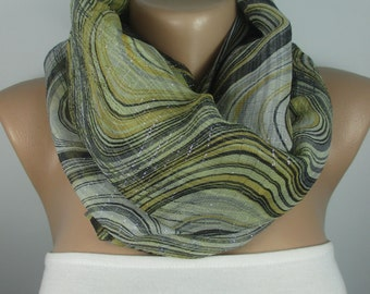 Yellow Gray scarf shimmer scarf sparkle scarf Lightweight Scarf Infinity Scarf Women Fashion Accessories Christmas Gift Ideas For Her