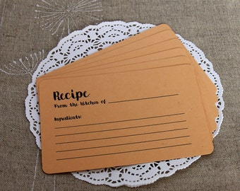 Personalized Recipe Cards - Rustic Home Decor - Set of 24 Recipe Cards - Bridal Shower Gift - Paper Recipe Cards - Tea Party Recipe Cards