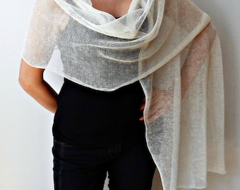 Ivory Knit Shawl Linen Bridal Scarf Wedding Shawl Bridal Wraps Shawls Womens Scarves Knit Scarf Knit Wrap ladies shawls Present Accessories