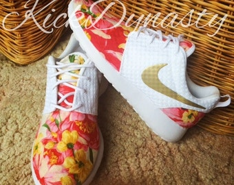 Custom Nike Floral Roshe Run Sneakers