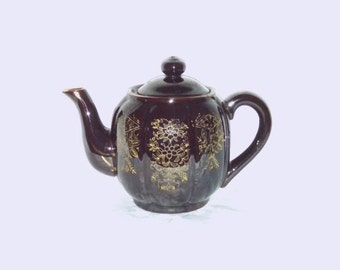 Vintage Japanese Globe Teapot, Brown Mirror Glazed Redware with Gold Hand Painted Flowers, Mid Century Asian, Circa 1950s