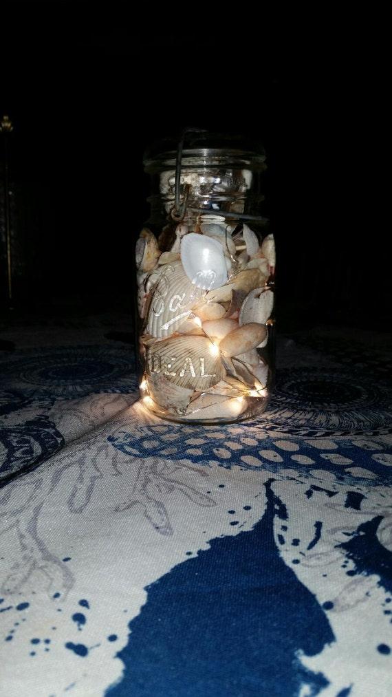 Seashell String Lights Outdoor : Indoor/Outdoor Vintage Quart Mason Jar Fairy String Seashell