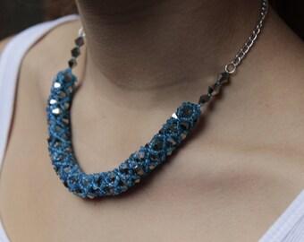 Grey Statement Necklace -  Swarovski Crystal Necklace - Elegant Necklace - Grey and Blue Necklace