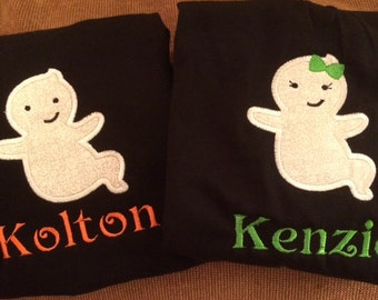 GIRL or BOY GHOST Adorable Halloween Shirt cute toddler Halloween shirt Fall Shirt Name Personalized Name Baby Child
