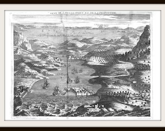 Old Vintage Antique Map of Hellespont from 1580 Features Constantinople Gallipoli Europe & Asia Vintage Map Print Drawing Art Item 0144
