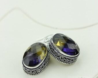 Ametrine (Lab Simulated) Vintage Filigree Setting 925 SOLID (Nickel Free) Sterling Silver Dangle Earrings e453