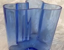 Vintage Alvar Aalto Glass Vase, Light Blue in Original Box, Signed and Numbered