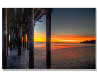Cayucos california Pier at sunset photo / cayucos photo / california beach photo | coastal wall art | Calif beach art / Sunset photo