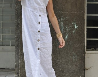 Women Long Dress, Plus Size White Dress, White Linen Dress, Extravagant Long Dress, Linen Dress, Summer White Dress for Women - DR0319LE