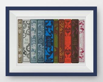 BUY 2, GET 1 FREE! Bookshelf cross stitch pattern, Classic Book cross stitch pattern, Instant Download, pdf counted cross stitch, #P022