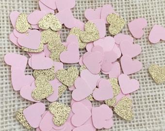 Blush Pink Gold Glitter Heart Confetti, Wedding Confetti, Bridal Shower, Baby Shower, Paper Confetti, Table Scatter, Heart Confetti, Party