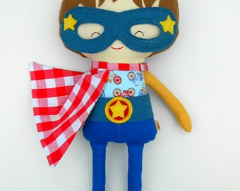 Doll superhero, toddler gift, action figure doll, for super hero birthday with cape and mask, marvel inspired for children