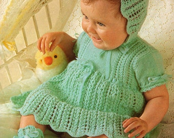 Baby Vintage Knitting Pattern Dress Bonnet and Bootees