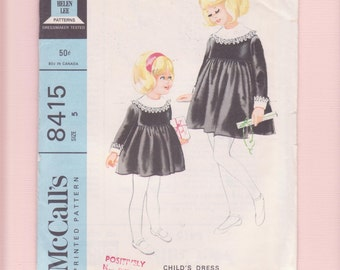 1960's Girl's Wide Collar, Empire waist dress Sewing Pattern- McCall's 8415 formal, short, Church dress by Helen Lee, UnCut/ Size 4 5 years