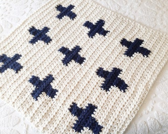 Plus Sign Blanket, Swiss Cross Blanket, Crochet Baby Blanket, Modern Baby Blanket, Trendy Blanket, Warm Blanket, Chunky Blanket