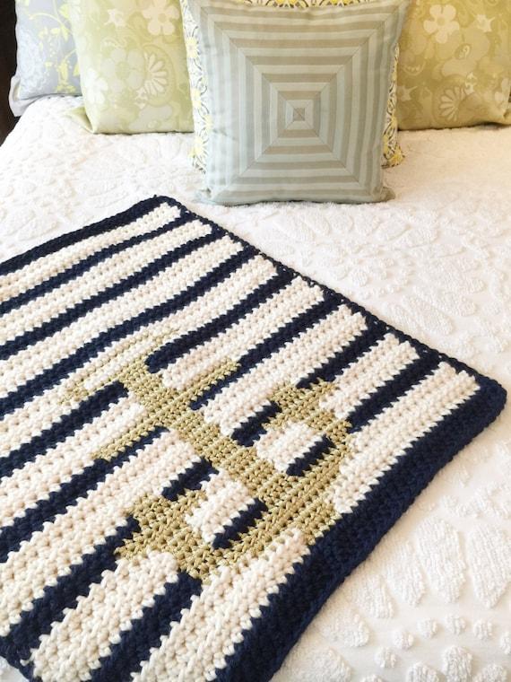 Anchor Blanket Nautical Crochet Blanket Modern Baby Blanket