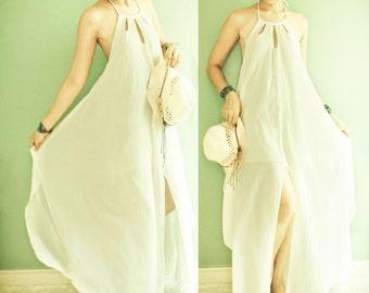 SALE 10% Off, Halter Maxi Cotton Summer Dress in Off White, Boho Rustic Cotton Dress, Gypsy Bohemian Beach Wedding Dress, Bridesmaid Dress