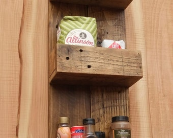 Tall Rustic Kitchen / Bathroom Storage Shelves Made From Reclaimed Wood