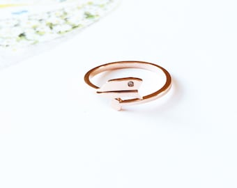 Sagittarius Ring Horoscope Dispositor The Archer Ring 18K Rose Gold Ring Adjustable Ring Multifinger Ring Stack Ring Birthday Gift Star Sign