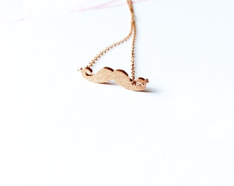 Brushed Finish Mustache Necklace  Charm Necklace 18K Rose Gold Necklace Pendant Necklace Super Cute Necklace Fun Necklace Fashion Necklace
