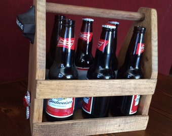 Rustic Beer Tote, Wooden Beer Tote,FREE SHIPPING!!!   Beer Tote with Bottle chiller and opener