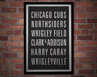 CHICAGO CUBS BASEBALL Subway Art Print - Customizable