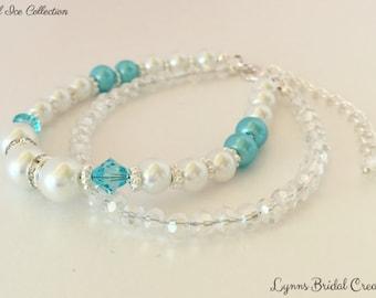 White Pearl Bracelet Wedding Bracelet Blue Crystal Jewelry Crystal Bracelet Bridesmaid Gift Swarovski Crystal Mother of the Bride Gift
