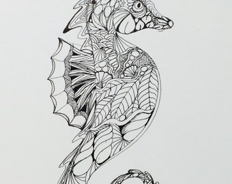 Zentangle Seahorse,seahorse, ink drawing, wall art, original art,black and white,seahorse drawing,seahorse art,