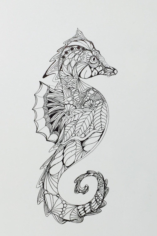 Zentangle Seahorseseahorse ink drawing wall art original