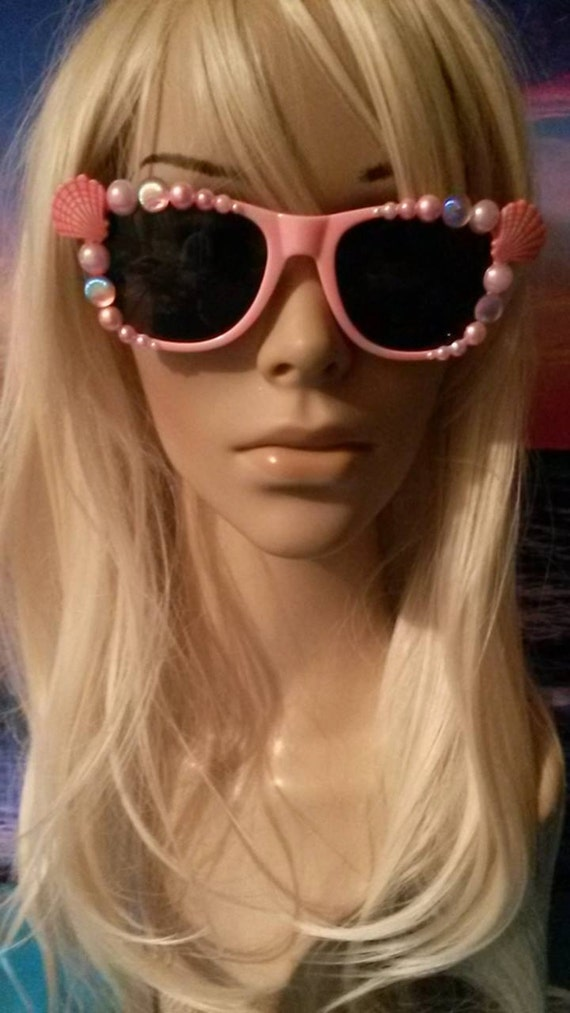 I'm Really A MERMAID Sunglasses Shades Sun Glasses Sunnies Wayfarers Aviators Im Beach Sea Ocean Nautical Pinup Pastel Pale pink  A017