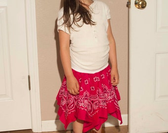Bandana Skirt, handkerchief skirt, Western skirt, play skirt, dance skirt, twirl skirt, country skirt, square dance skirt